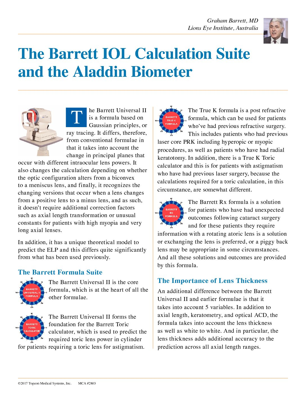 The Barrett IOL Calculation Suite and the Aladdin Biometer