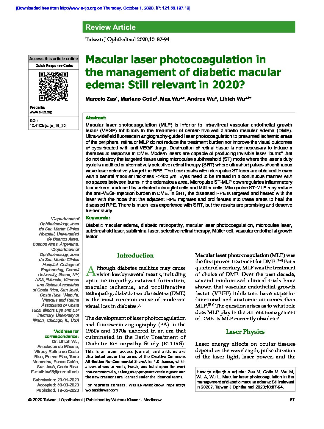 Macular laser photocoagulation in the management of diabetic macular edema